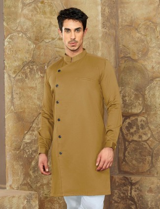 Olive color cotton fabric short pathani