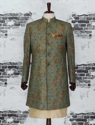 Olive color indo western for party wear
