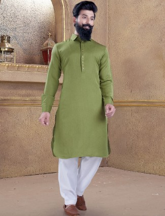 Olive color plain pathani suit