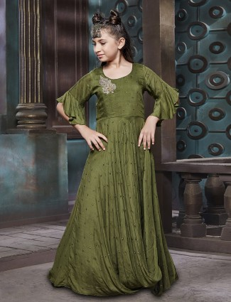 Olive color silk fabric gown