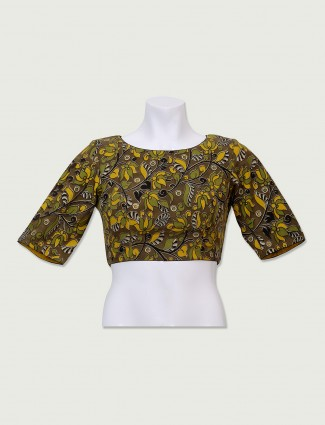 Olive cotton fabric ready made blouse