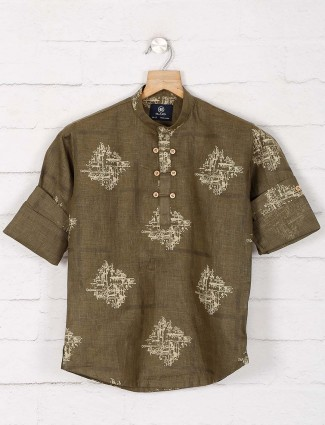 Olive cotton festive function kurta
