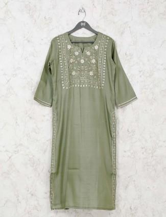Olive cotton festive kurti