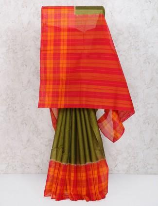 Olive cotton printed festive saree