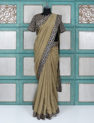 Olive cotton silk fabric festive wear saree with ready made blouse