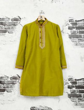 Olive cotton silk festive wear kurta suit