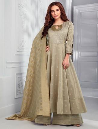 Olive cotton silk pakistani dress with palazzo