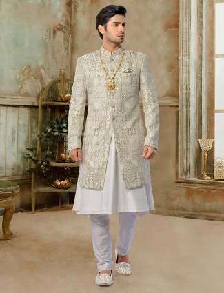 Olive exclusive silk jacket sherwani set for groom