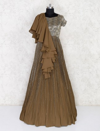 Olive floor length georgette gown
