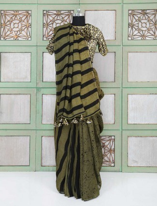 Olive green and black color party wear saree