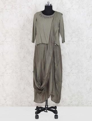 Olive green designer cotton silk kurti