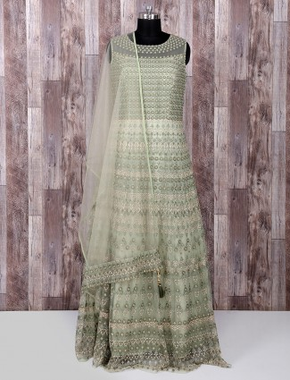 Olive green net fabric anarkali suit