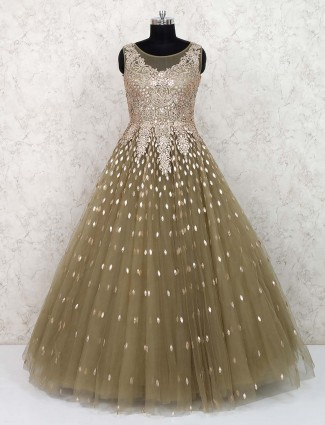 Olive green net party gown