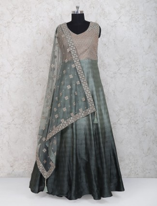Olive green raw silk floor length anarkali suit