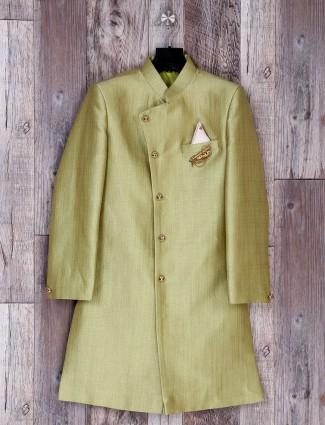 Olive green silk wedding wear indo western