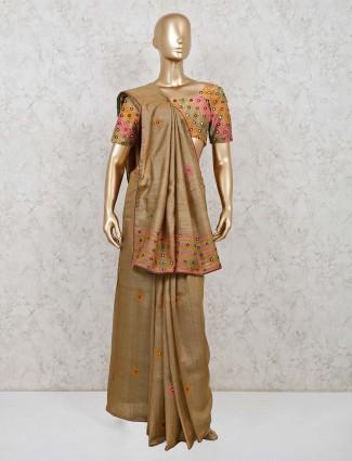 Olive handloom cotton festive wear saree
