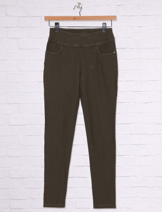 Olive hue casual jeggings
