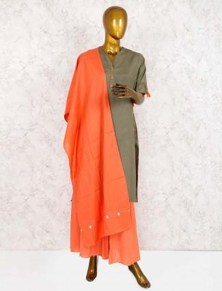 Olive hue festive punjabi sharara suit
