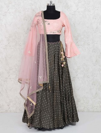 Olive hue raw silk party lehenga choli