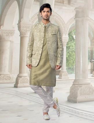 Olive party wear lucknowi work waistcoat set