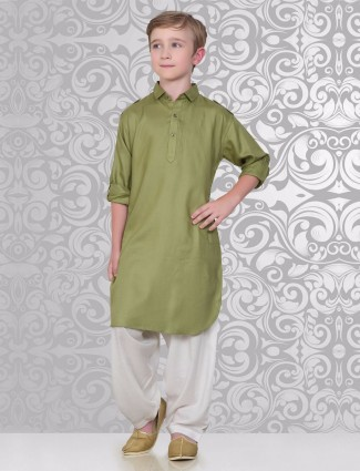 Olive plain pathani suit
