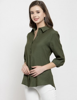 Olive plain shirt for a casual dressing