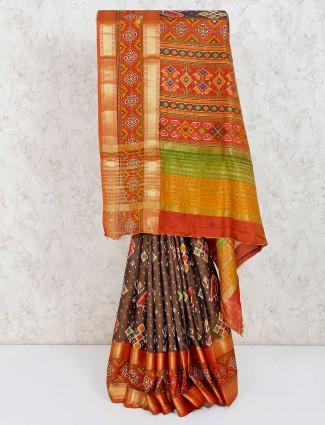Olive printed cotton silk festive saree