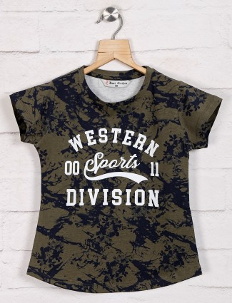 Olive printed cotton top for girls