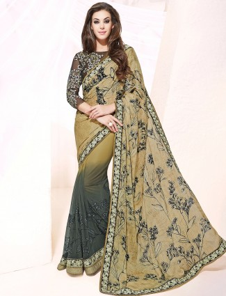 Olive printed net satin festive wear half and half saree