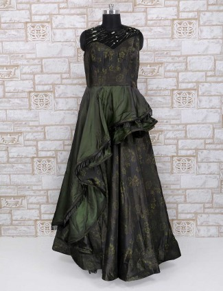 Olive printed party wear gown