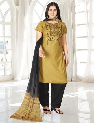 Olive punjabi salwar suit with aabla work