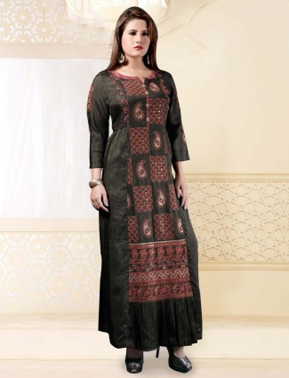 Olive raw silk long kurti for festive wear