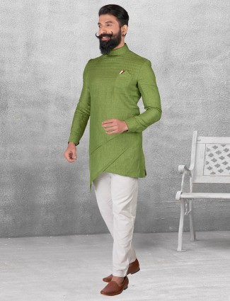 Olive silk fabric kurta suit