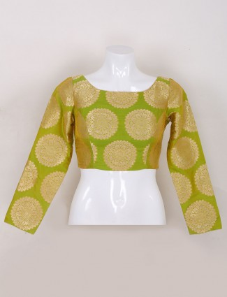 Olive silk ready made blouse