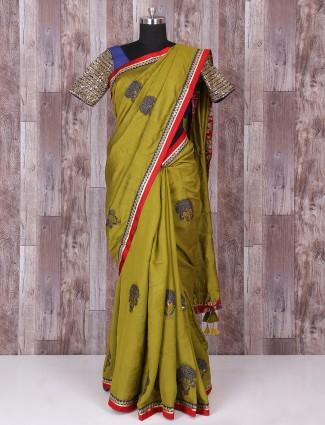 Olive silk wonderful saree