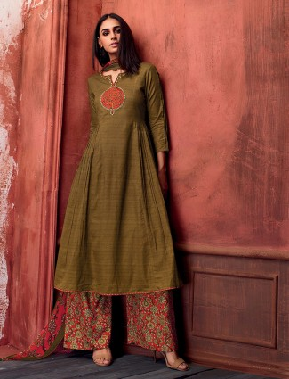 Olive simple salwar suit