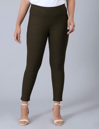 Olive soid cotton skinny fit jeggings