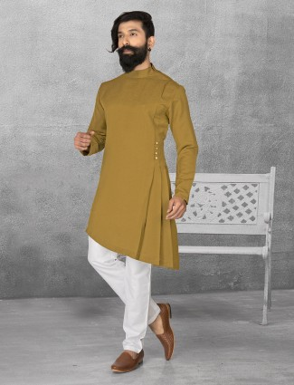 Olive terry rayon plain kurta suit