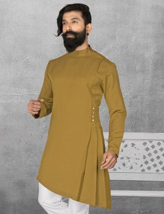 Olive terry rayon plain short pathani