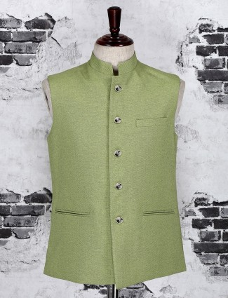 Olive terry rayon solid waistcoat