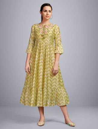 Olive thread woven festive wear cotton kurti