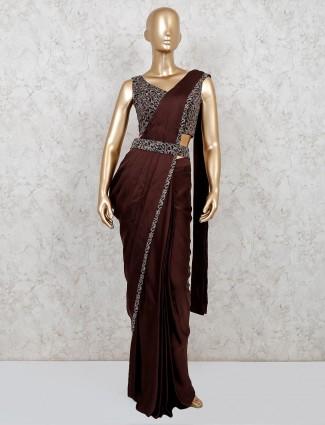 One minute brown designer satin saree