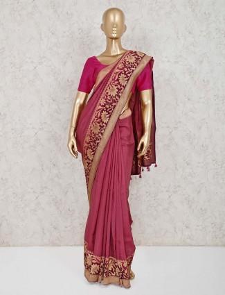 Onion pink muga silk saree with tassel