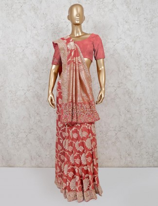 Onion pink premium banarasi silk saree