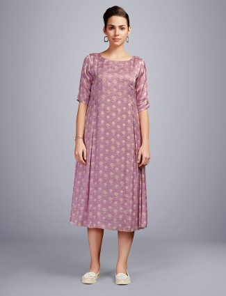 Onion pink printed cotton kurti