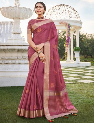 Onion pink saree with atteched blouse piece