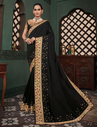 Opulent cotton silk festive wear saree in black