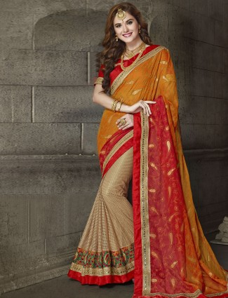 Orange and beige half and half saree