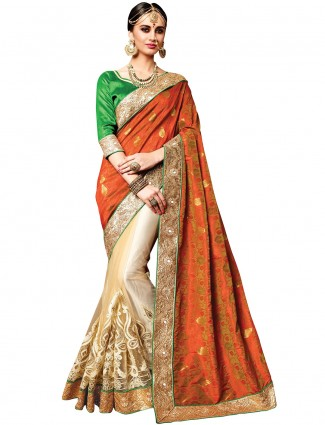 Orange and cream classy net silk saree