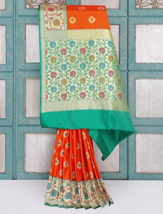 Orange and green silk saree for wedding